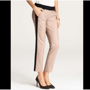 Ann Taylor Tuxedo pant in camel and black